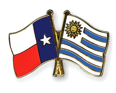 Crossed Flag Pins Texas-Uruguay