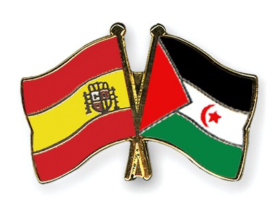 Crossed Flag Pins Spain-Western-Sahara