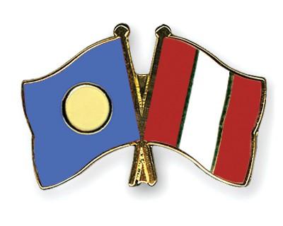 Crossed Flag Pins Palau-Peru