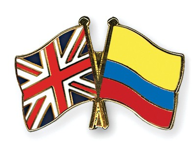 Crossed Flag Pins Great-Britain-Colombia