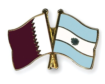 Special Offer Crossed Flag Pins Qatar-Argentina