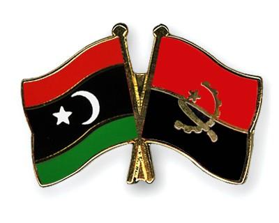 Crossed Flag Pins Libya-Angola