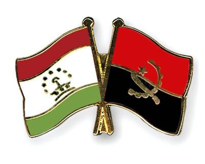 Crossed Flag Pins Tajikistan-Angola