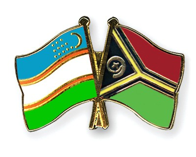 Crossed Flag Pins Uzbekistan-Vanuatu