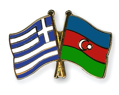 Crossed Flag Pins Greece-Azerbaijan