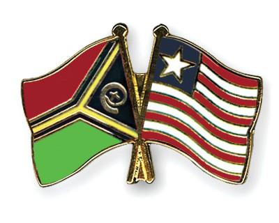 Crossed Flag Pins Vanuatu-Liberia