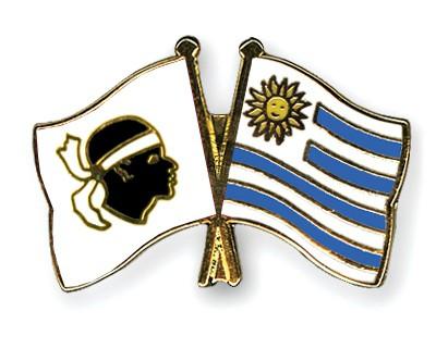 Crossed Flag Pins Corsica-Uruguay