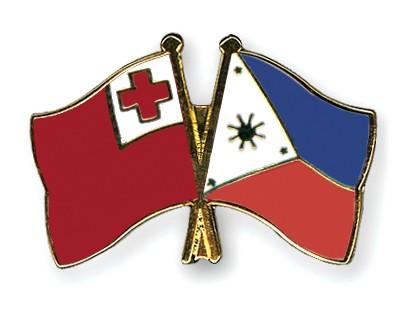 Crossed Flag Pins Tonga-Philippines