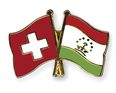 Crossed Flag Pins Switzerland-Tajikistan