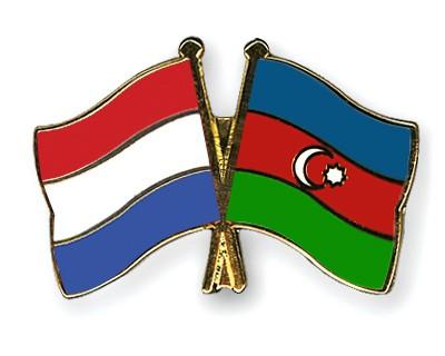 Crossed Flag Pins Netherlands-Azerbaijan
