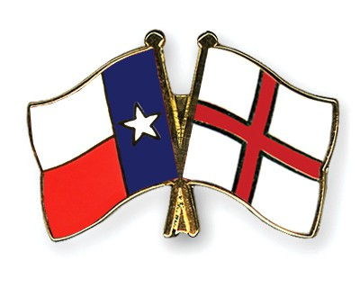 Crossed Flag Pins Texas-England