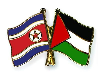 Crossed Flag Pins North-Korea-Palestine
