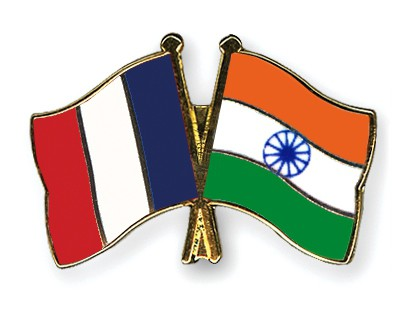 Special Offer Crossed Flag Pins France-India