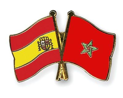 Crossed Flag Pins Spain-Morocco
