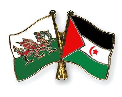 Crossed Flag Pins Wales-Western-Sahara