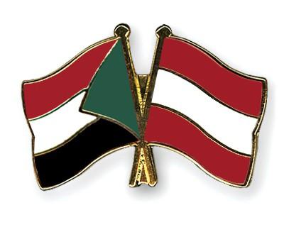 Crossed Flag Pins Sudan-Austria