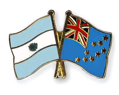 Crossed Flag Pins Argentina-Tuvalu
