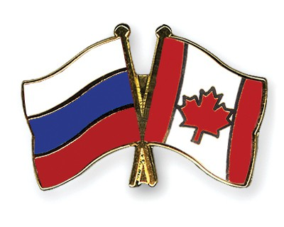 Crossed Flag Pins Russia-Canada