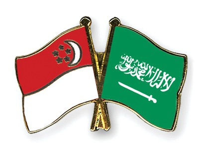 Special Offer Crossed Flag Pins Singapore-Saudi-Arabia