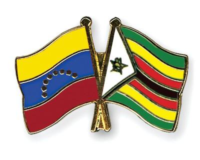 Crossed Flag Pins Venezuela-Zimbabwe