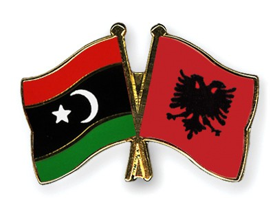 Crossed Flag Pins Libya-Albania