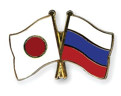 Crossed Flag Pins Japan-Russia