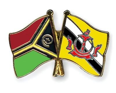 Crossed Flag Pins Vanuatu-Brunei-Darussalam