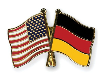 Crossed Flag Pins USA-Germany