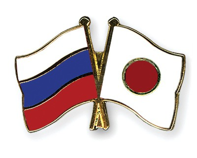 Crossed Flag Pins Russia-Japan