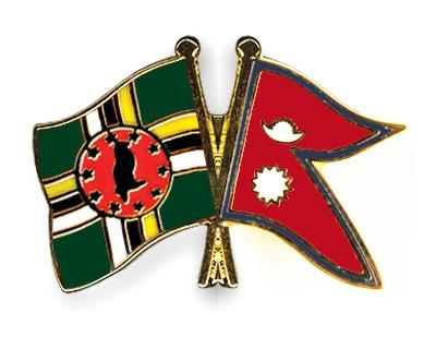 Crossed Flag Pins Dominica-Nepal