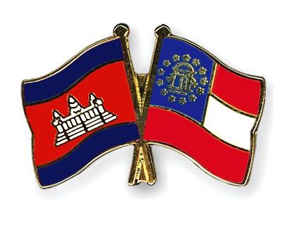 Crossed Flag Pins Cambodia-Georgia