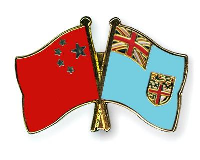 Crossed Flag Pins China-Fiji