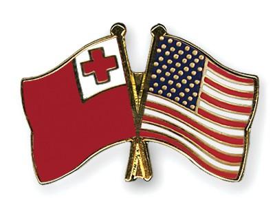 Crossed Flag Pins Tonga-USA
