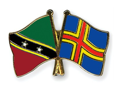 Crossed Flag Pins Saint-Kitts-and-Nevis-Aland