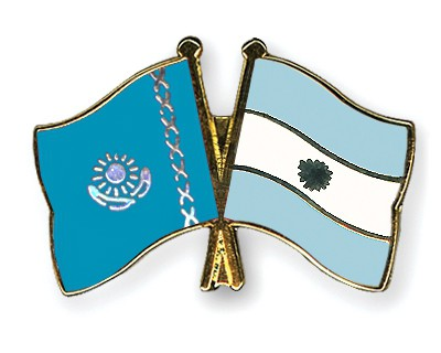 Crossed Flag Pins Kazakhstan-Argentina