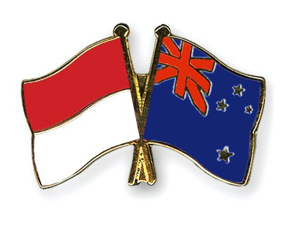 Crossed Flag Pins Indonesia-New-Zealand
