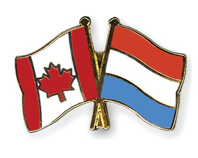 Special Offer Crossed Flag Pins Canada-Luxembourg