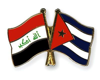 Crossed Flag Pins Iraq-Cuba