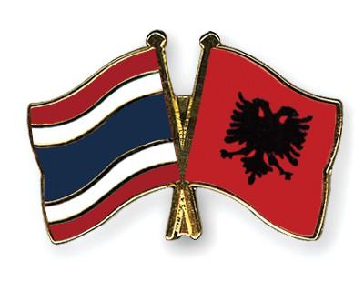Crossed Flag Pins Thailand-Albania