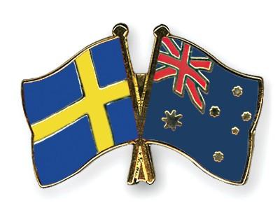 Special Offer Crossed Flag Pins Sweden-Australia
