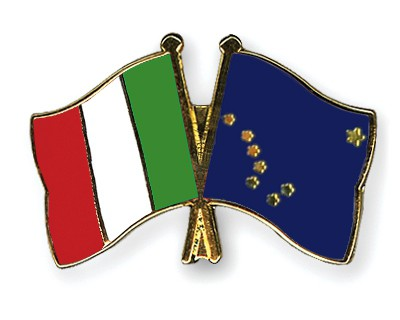Crossed Flag Pins Italy-Alaska
