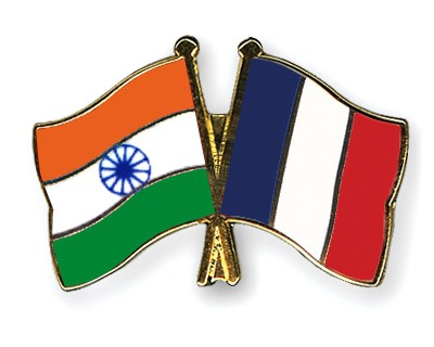 Crossed Flag Pins India-France