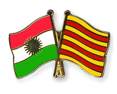 Crossed Flag Pins Kurdistan-Catalonia