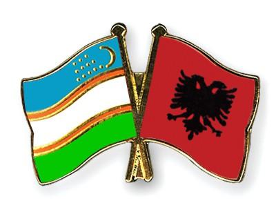 Crossed Flag Pins Uzbekistan-Albania