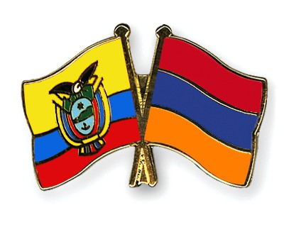 Crossed Flag Pins Ecuador-Armenia