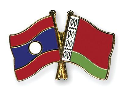 Crossed Flag Pins Laos-Belarus