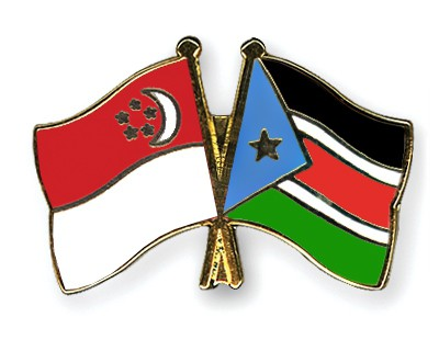 Crossed Flag Pins Singapore-South-Sudan