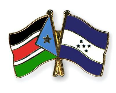 Crossed Flag Pins South-Sudan-Honduras