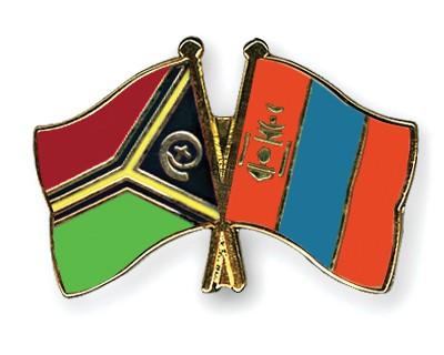 Crossed Flag Pins Vanuatu-Mongolia