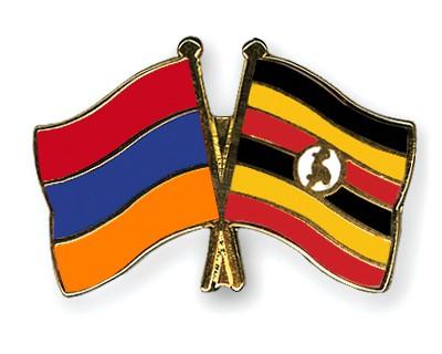 Crossed Flag Pins Armenia-Uganda